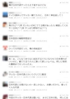 サッカー日本代表にツイッターの誹謗・中傷